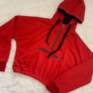 Charlotte Russe Red Cropped Sweatshirt